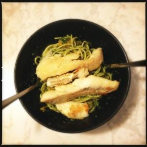 Pesto Pasta and Fish