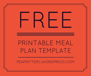 Free printable meal plan template
