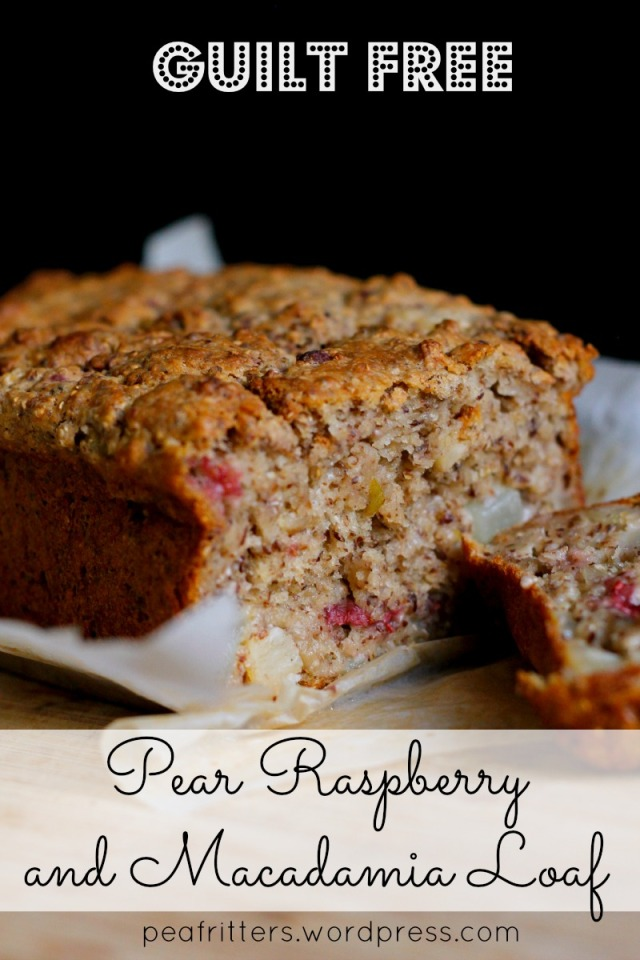 Pear Raspberry and Macadamia Loaf. A delicious, guilt free treat for you mummy tummy. Also a great toddler snack!